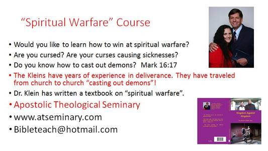 Itinerary - SPIRITUAL WARFARE CONFERENCES ©